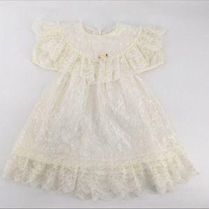 VTG Dress 4 Lace Cream Off White Flower Girl
